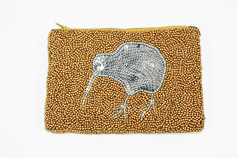 Beaded Gold & Sequinned Silver Kiwi Coin Purse