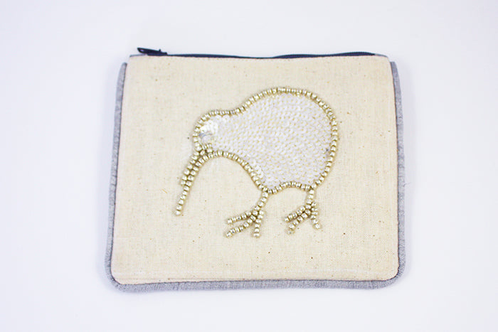 Small Coin Purse Kiwi Silver