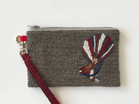 Beaded Rectangular Fantail Coin Purse with wristlet