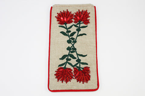 Pohutukawa Crossed Stems Glasses Case