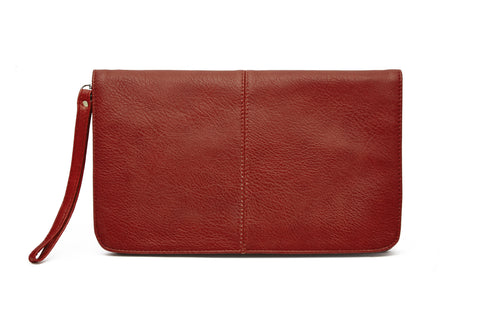 FLAP FRONT BODY BAGS - VEGAN LEATHER / Red