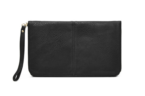 FLAP FRONT BODY BAGS - VEGAN LEATHER / Black