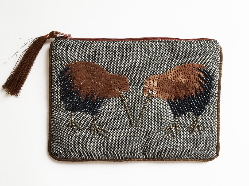 Kiwi Copper/Blue Beaded Pouch