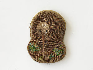 Kiwi Beaded Shaped Coin Purse Grass NEW