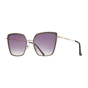 Laina Blk & Gold Metal Frame Smoke Gradient Polarised