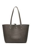.NEW REVERSIBLE TOTE BAG Pewter & Light Taupe