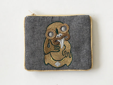 Small Grey Lurex Coin Purse w / gold Tiki