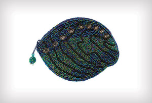 X Coin Purse Shaped Paua Shell Beaded