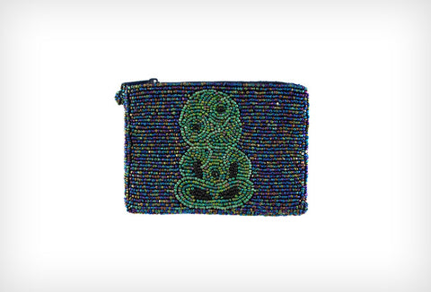 Beaded Rectangular BLUE Tiki Coin Purse New Size