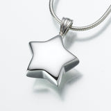 White Gold Star Cremation Jewelry Pendant - Modern Memorials