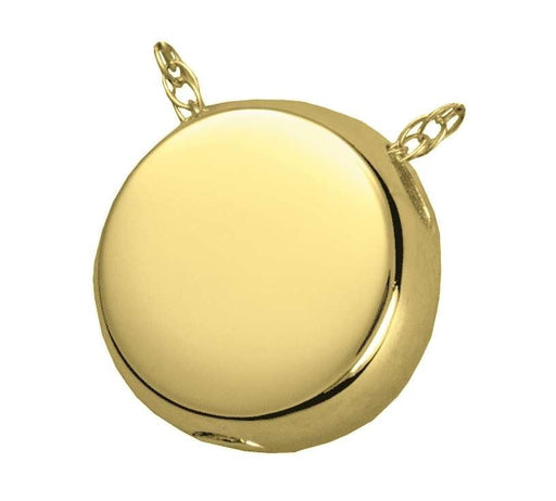 14K Gold Slide Circle Cremation Jewelry Pendant (Engravable) - Modern Memorials