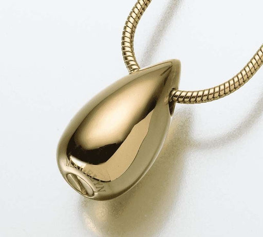 14K Gold Teardrop Cremation Jewelry Pendant (Engravable) - Modern Memorials