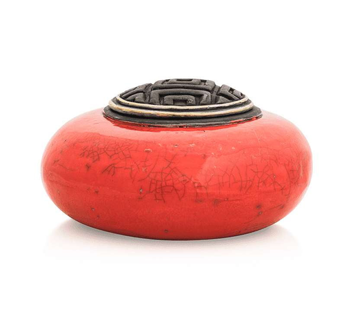 Rounded Red Ceramic Pet Urn or Keepsake (Handmade) Cremation Urn Candone Wharton