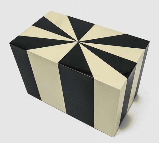 "Black and White ""Starburst"" Lacquered Wood Cremation Urn - Modern Memorials"