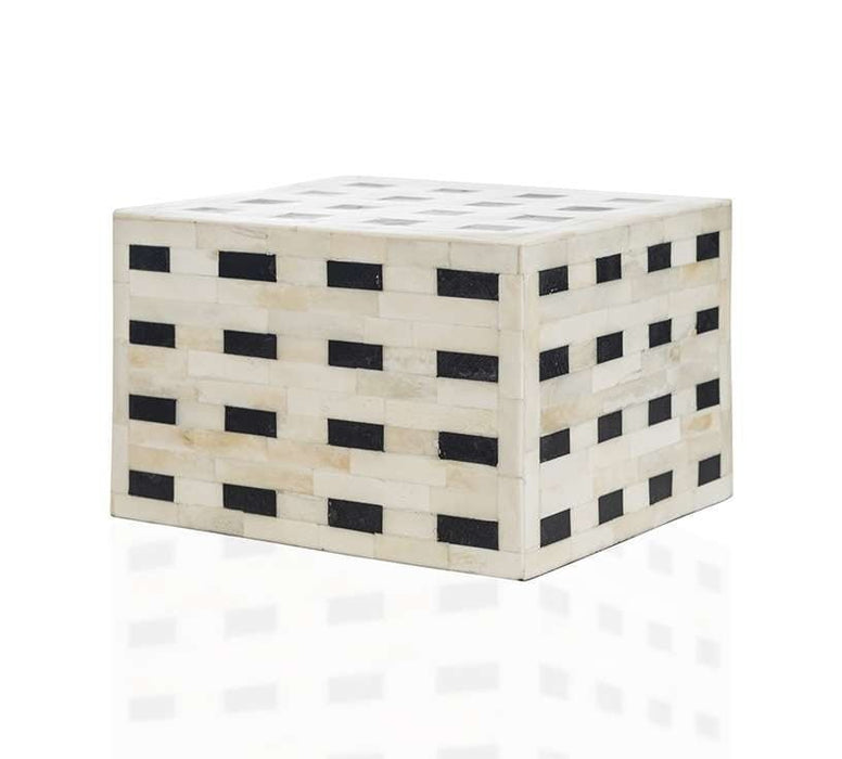 """Checkered"" White and Black Horn Inlay Cremation Urn - Modern Memorials"