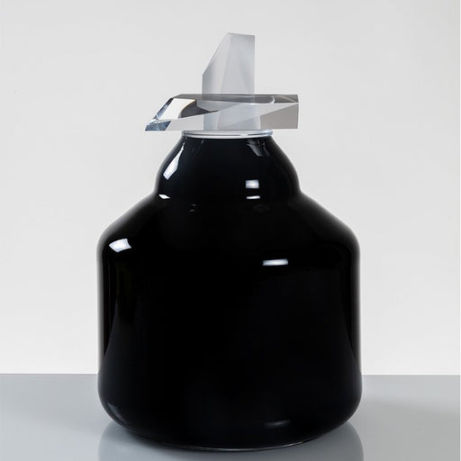 """Embrace"" Large Black Glass Cremation Urn - Modern Memorials"