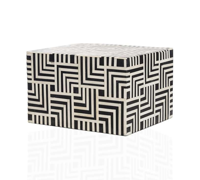 """Geometric"" Black and White Horn Inlay Cremation Urn - Modern Memorials"
