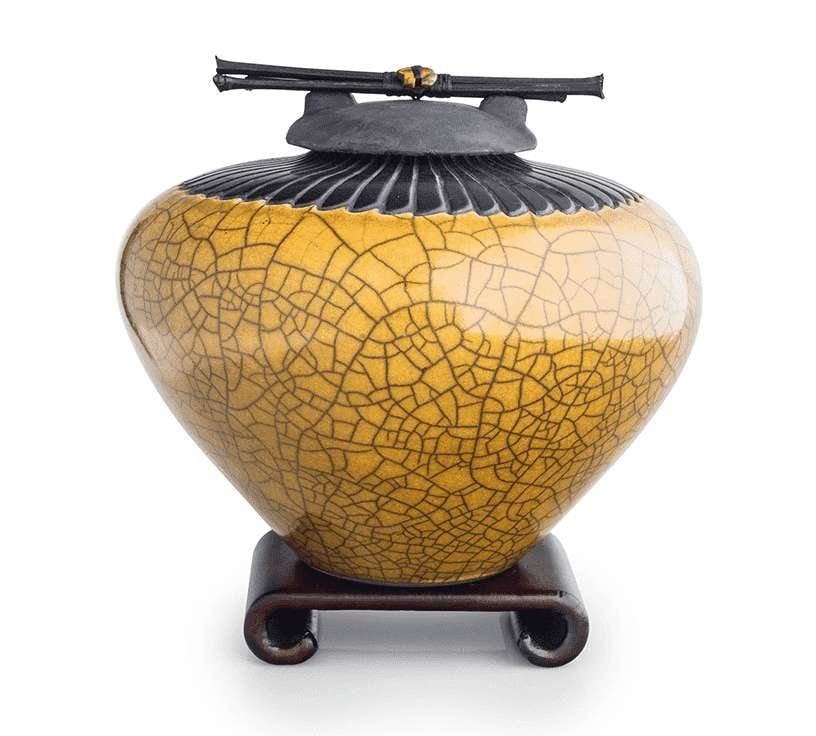 Gold Ceramic Cremation Urn with Feather Detail - Modern Memorials