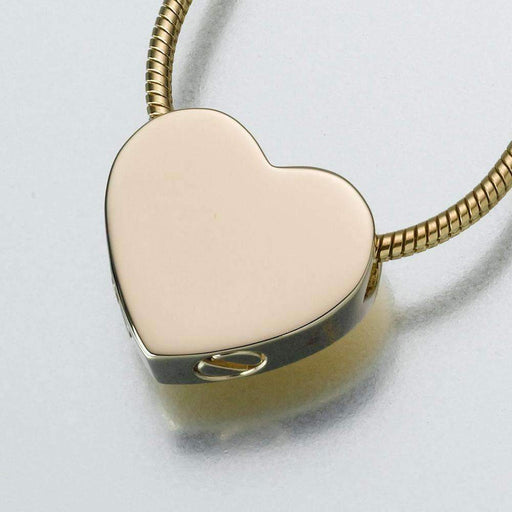 Gold Double Chamber Slide Heart Cremation Jewelry Pendant (Engravable) - Modern Memorials