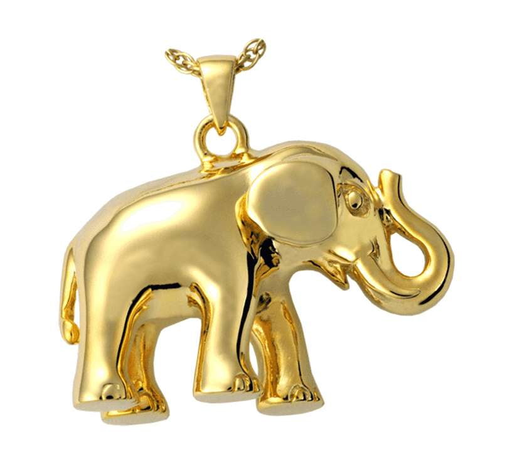 14K Gold Elephant Cremation Jewelry Pendant for Ashes (Engravable)