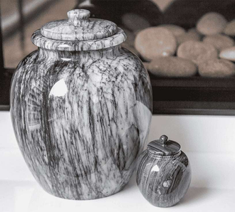 "Grey ""Legacy"" Marble Keepsake Cremation Urn"