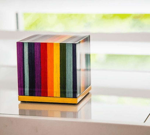 """Joy"" Keepsake Cube - Italian Lacquered Wood Cremation Urn - Modern Memorials"
