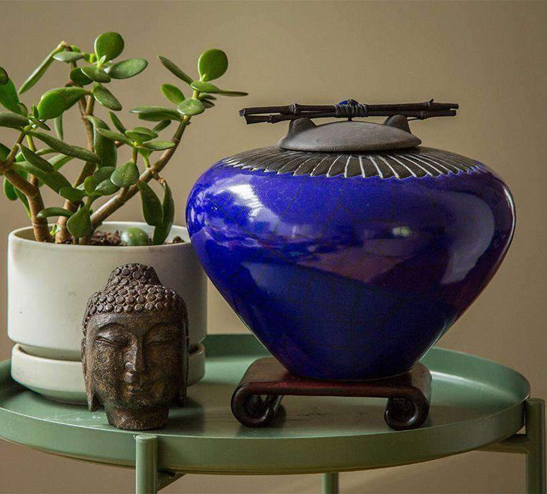 Lapis Blue Ceramic Cremation Urn with Feather Detail - Modern Memorials