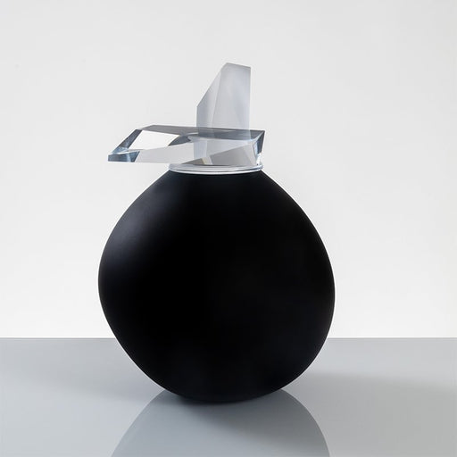 """Orb"" Medium Black Glass Cremation Urn - Modern Memorials"