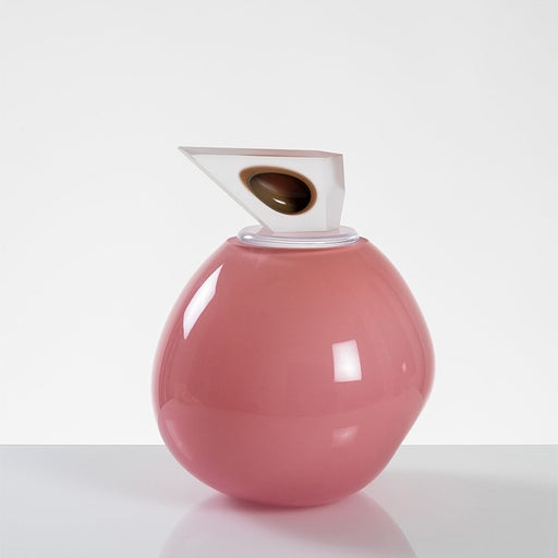 """Orb"" Medium Pink Glass Cremation Urn - Modern Memorials"