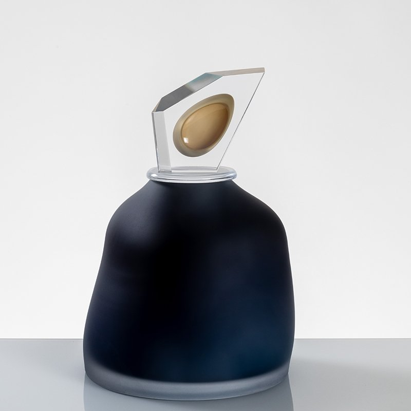 """Ovation"" Large Navy Blue Glass Cremation Urn - Modern Memorials"