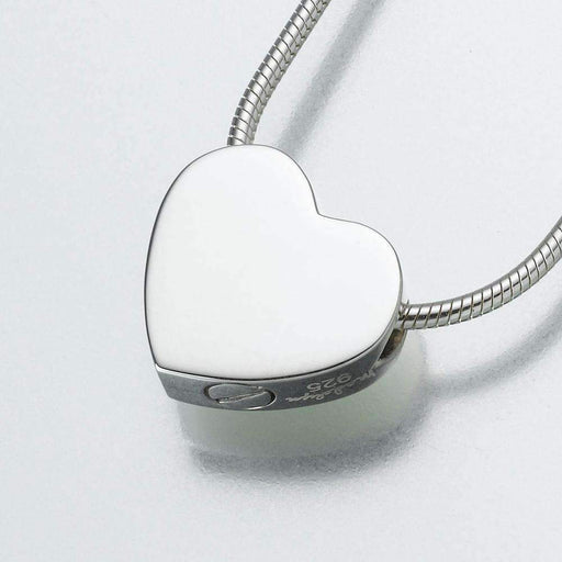 Silver Double Chamber Slide Heart Cremation Jewelry Pendant (Engravable) - Modern Memorials