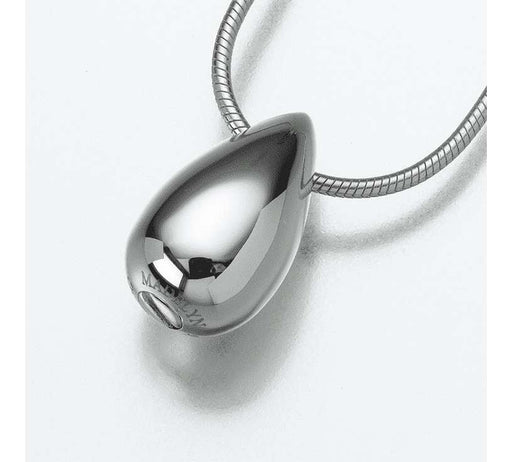 Silver Teardrop Cremation Jewelry Pendant (Engravable) - Modern Memorials