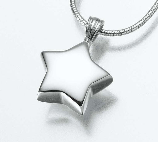 Small White Gold Star Cremation Jewelry Pendant (Engravable) - Modern Memorials