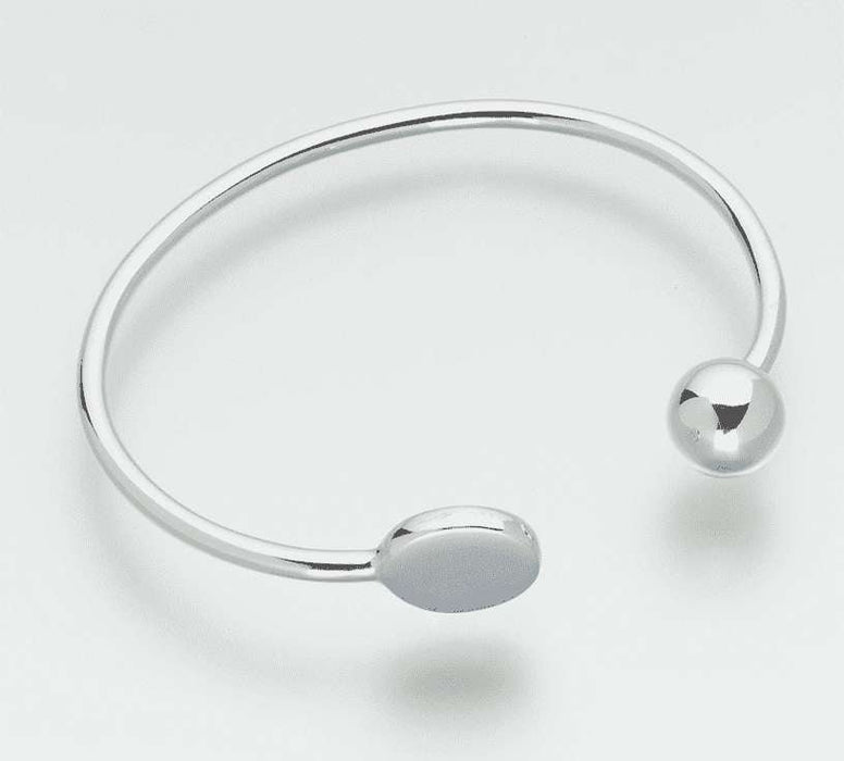 Sterling Silver Cremation Jewelry Bangle Bracelet (Engravable) - Modern Memorials