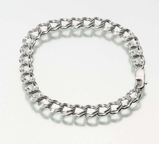 "Sterling Silver Double Link Charm Bracelet Chain (7.5"") - Modern Memorials"