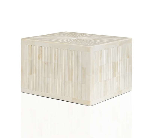 """Sunburst"" White Horn Inlay Cremation Urn - Modern Memorials"