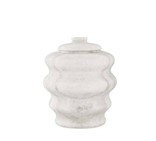 White Antique Marble Sculpted Keepsake Pet Urn - Modern Memorials