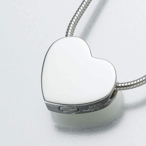White Gold Double Chamber Slide Heart Cremation Jewelry Pendant (Engravable) - Modern Memorials