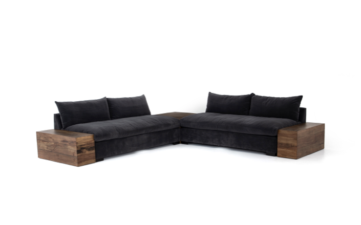Four Hands Grant 2-PC Sectional w/ Corner+End Table