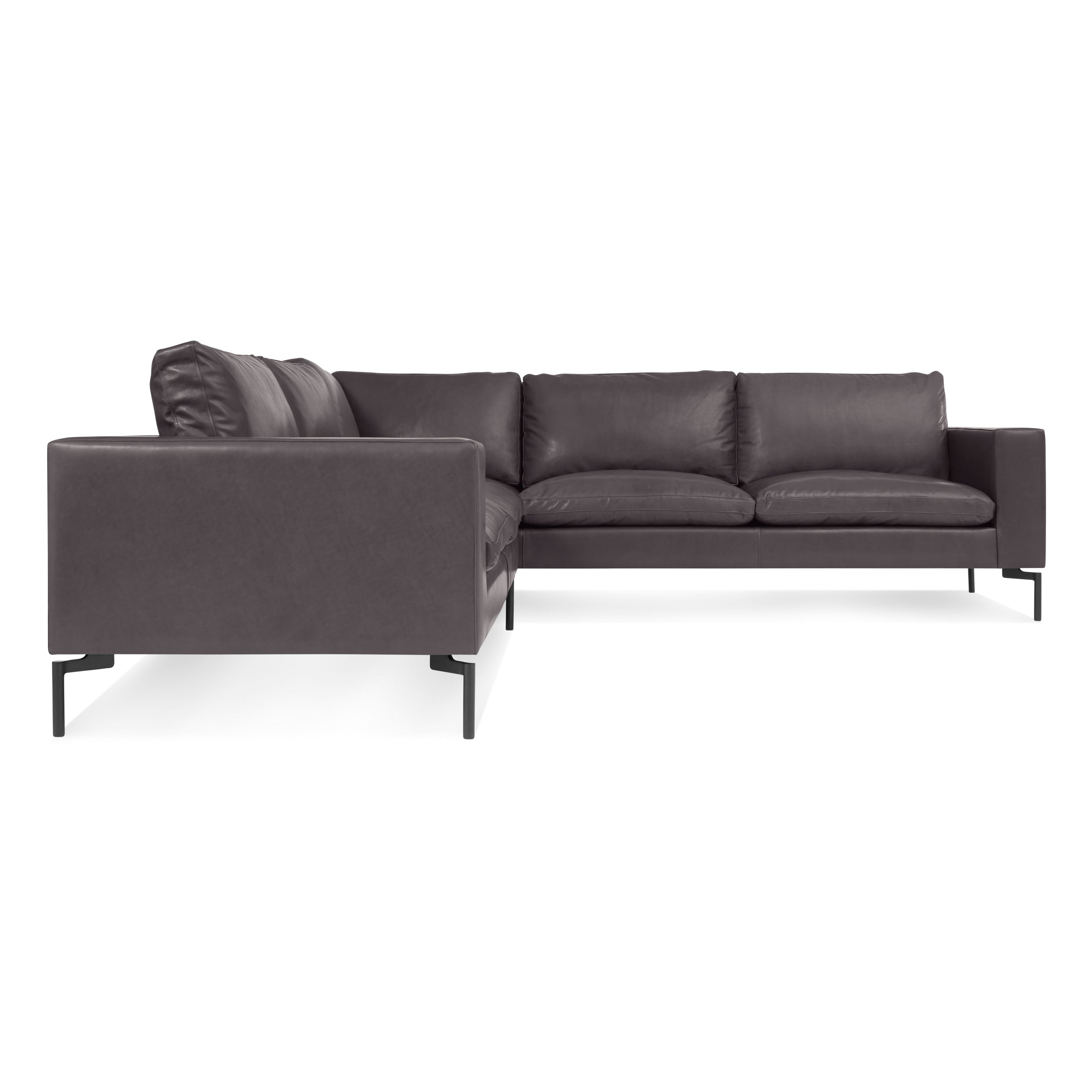 Blu Dot New Standard Left Leather Sectional Sofa Small Hutch