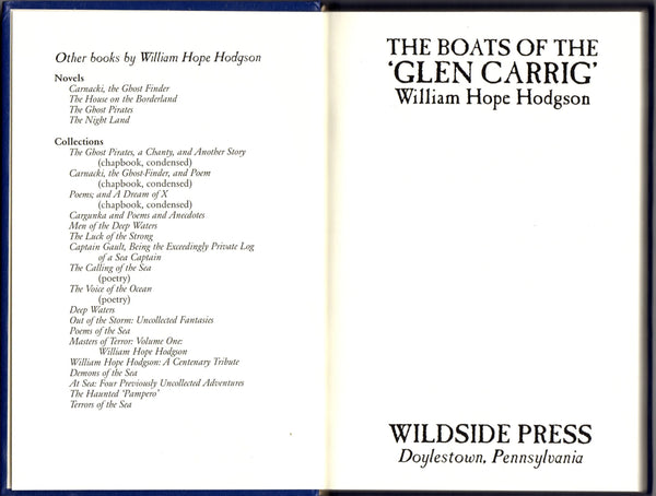 The Boats of the 'Glen Carrig' by William Hope Hodgson FACSIMILE