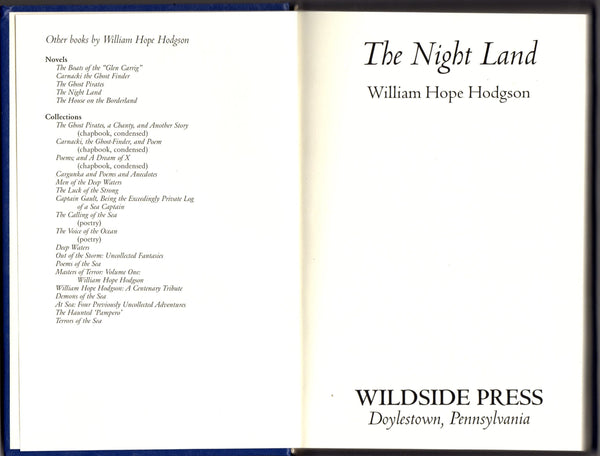 The Night Land by William Hope Hodgson FACSIMILE