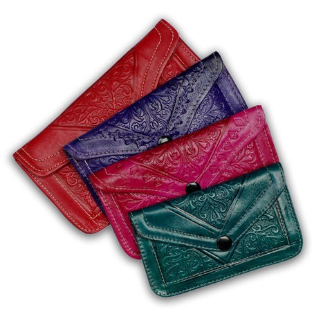 Moroccan Leather Snap Close Pouch
