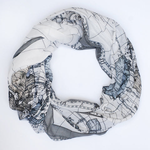 Up to My Neck in Maps | Scarf in Stony Shore Grey