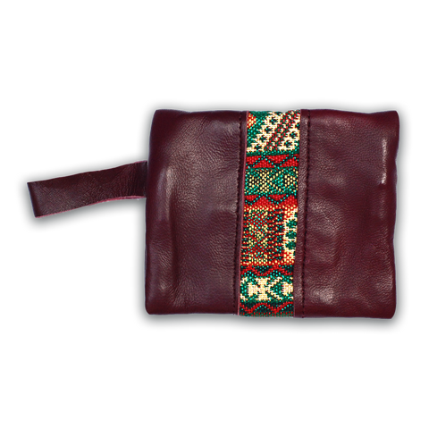 Moroccan Leather & Fabric Coin Purse