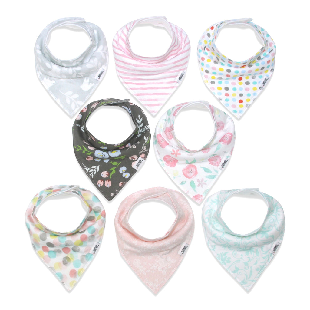 Rosy Mint Bandana Bib Set 8-Pack