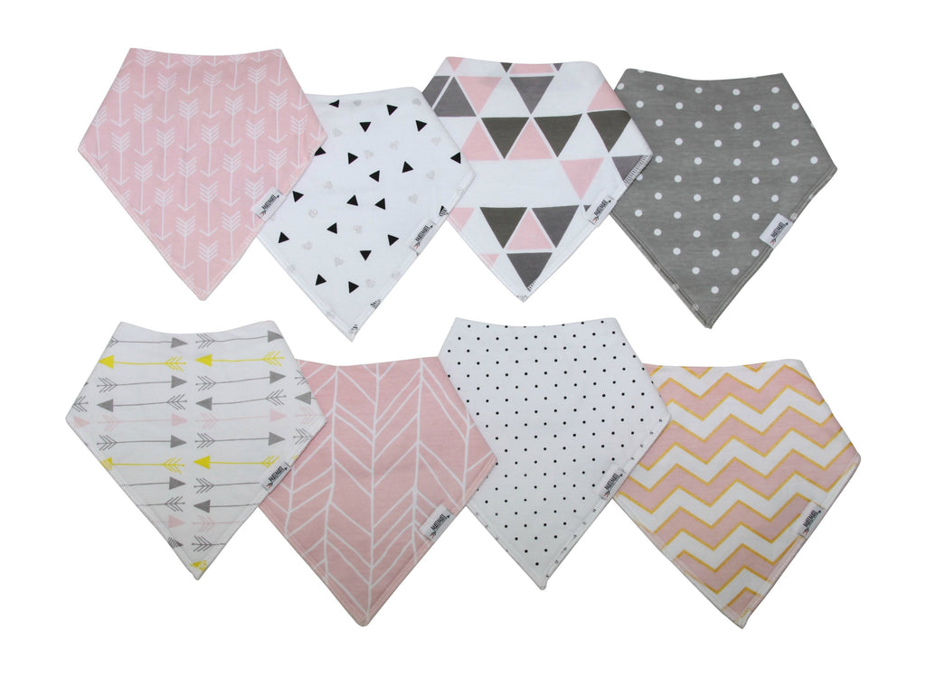 Blush Pink Bandana Bib Set 8-Pack