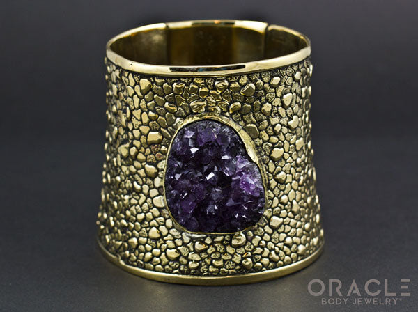 Ruler Cuff Bracelet with Druzy Rough Amethyst