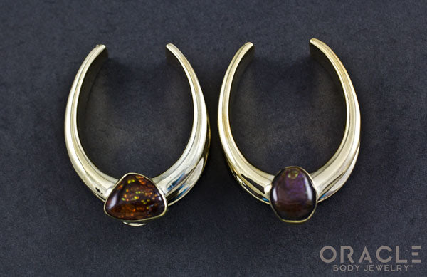 "1-1/2"" (38mm) Brass Saddles with Fire Agate"