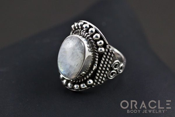 Sterling Silver ring with Moonstone Size 7